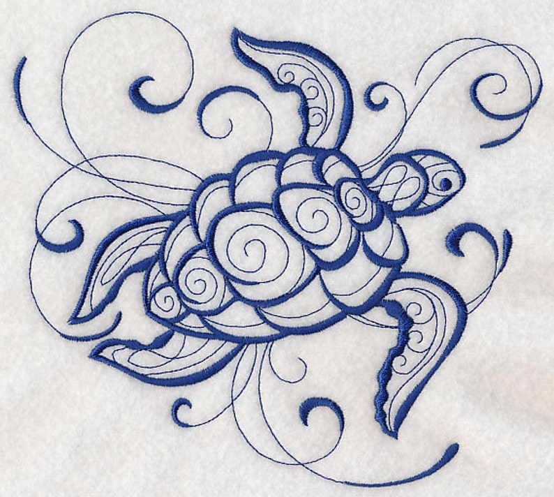 SEA TURTLE Intricate Ink Sea Life AzEB Machine Embroidered Quilt Block