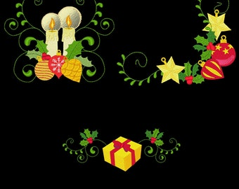 CURLY CHRISTMAS BORDERS & Corners (5inch) - 10 Machine Embroidery Designs Instant Download 5x5 hoop (AzEB)