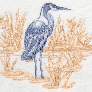 Machine Embroidered Quilt Block LITTLE BLUE HERON AzEB