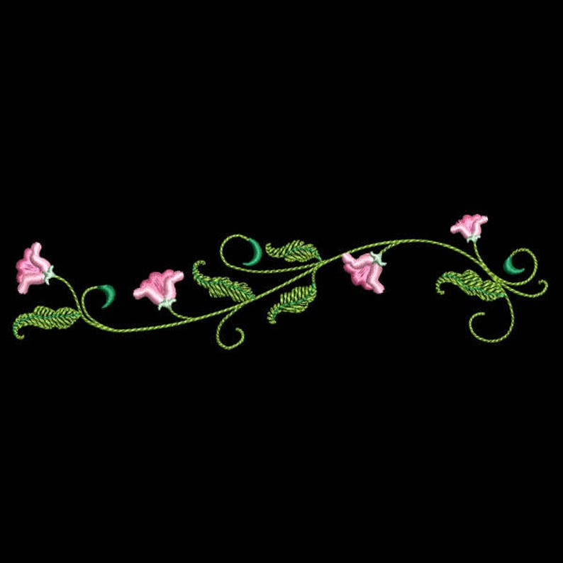 - 10 Machine Embroidery Designs Instant Download 5X5 hoop 5inch SIMPLE FLOWER BORDERS AzEB