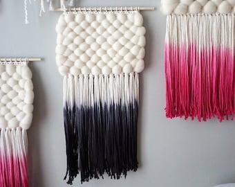 "12"" Woven Wall Hanging | Dip-Dyed Black Weaving"