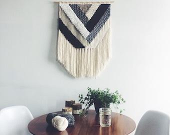 "24"" Woven Wall Hanging | Geometric Neutral Weaving"