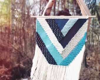 "24"" Woven Wall Hanging | Turquoise Geometric Weaving"