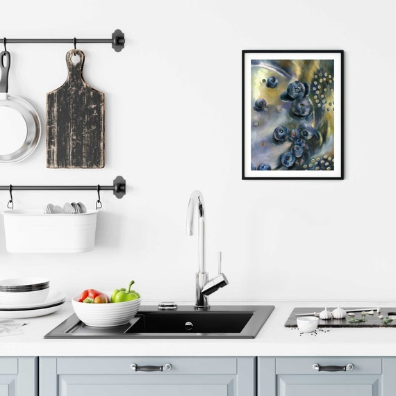 Kitchen Wall Art Prints Blueberries Oil Painting Fruit Still Etsy