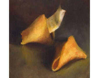 Fortune Cookie - A Ray of Hope - square art print of still life oil painting by Jo Bradney / chinese take out / food art /