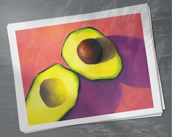 Pink Avocado Wall Art for kitchen decor - simple artwork for restaurant or cafe wall decor - 4x6 5x7 8x10 9x12 print - Vegan Art Gift