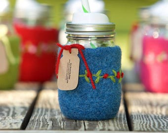 Pint size Felted wool mason jar cozy set blue pint size