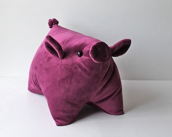 Pretty Piggy Magenta Pig Pillow Handmade Pillow