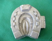 Vintage Pewter Horseshoe Ice Cream Mold  Circa 1930s