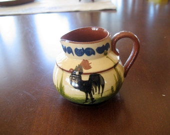 Vintage Torquay Small Creamer    Circa 1910   Rooster Pattern