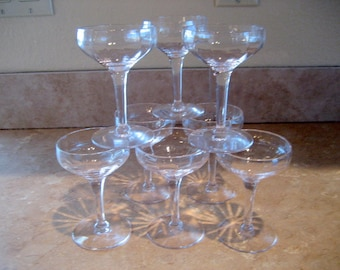 Clear Glasse Champagne Glasses  Set of 8  Circa 1940s