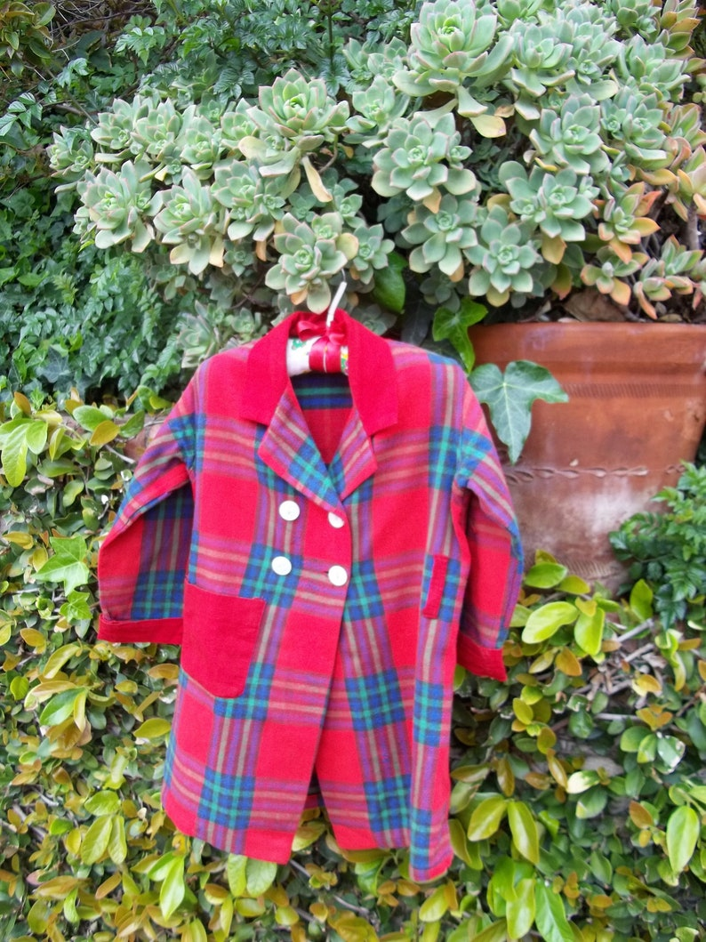 Vintage 1940 50/'s Kids size 4 or 5  Original Coat or  Robe Red Plaid Flannel  Small Fri San Gabriel California label Childrens Toddler
