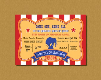 Printable - Circus Elephant- Vintage Ticket/Poster Inspired Birthday Party Invitation