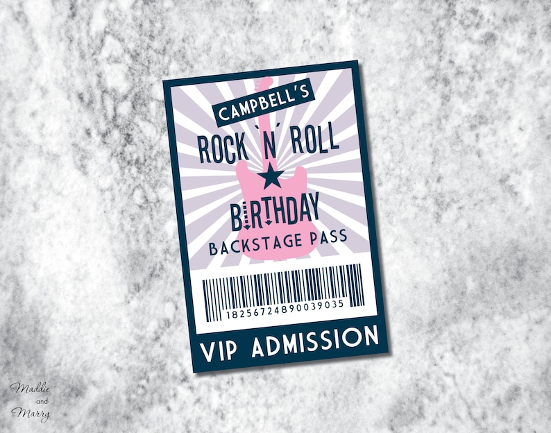 Printable - VIP PASS - Backstage ADMISSION Ticket - Concert or Party Insert  Card for Lanyard