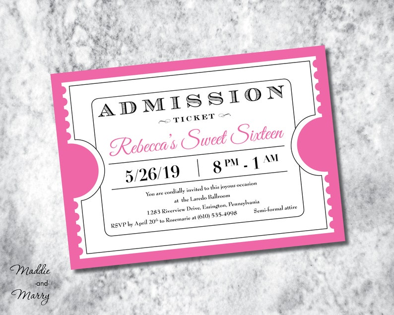 Printable Admission Ticket Party Invitation Etsy