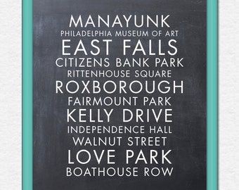 Printable - Philadelphia Area or other City/State/Cities/Travel/Attractions/Names/List - 8x10 Poster/Sign/Print/Wall Art