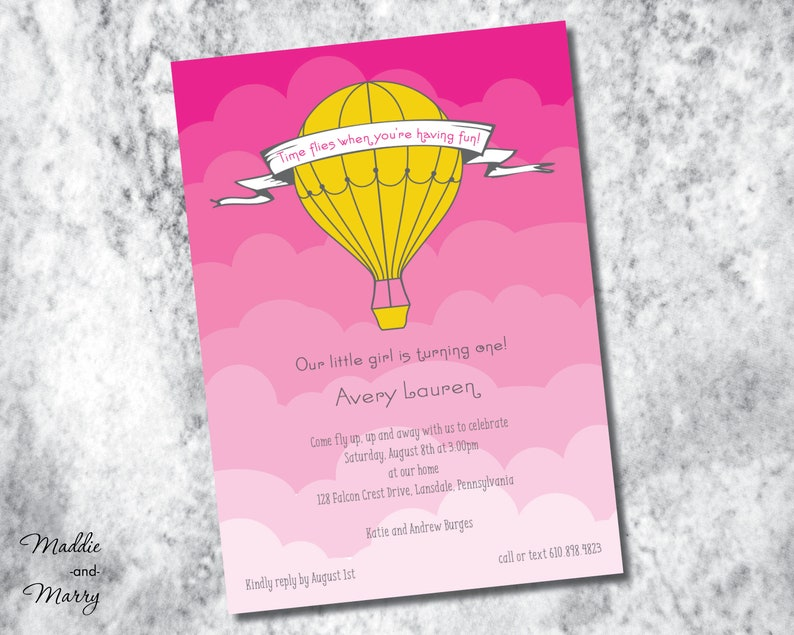 photograph relating to Oh the Places You'll Go Balloon Printable Template titled Printable - Scorching Air Balloon Birthday or Boy or girl Invitation - Up in just the Clouds - Oh the Locations Youll Shift - Up Up and Absent Style