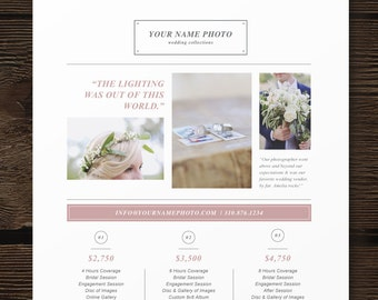 photography pricing guide template price list design photo etsy