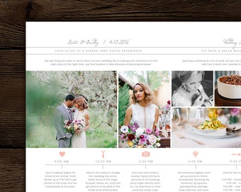 wedding day timeline template for photographers studio etsy