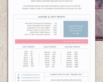 pricing guide template for wedding photographers wedding album printed products price list photoshop files letterhead design