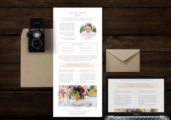 email newsletter template for photographers wedding etsy