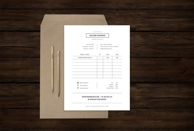 Invoice Template for Photographers - Invoice Receipt Design Template - Photographer Forms - Bittersweet Designs