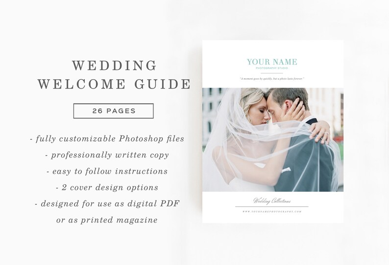 SALE! Wedding Magazine Template for Photographers & Planners - Photographer  Welcome Packet - Photography Price List - Bridal Guide