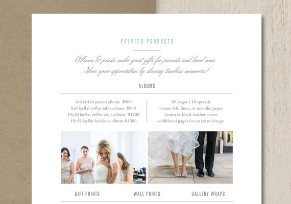Pricing Guide Template Price List for Photographers