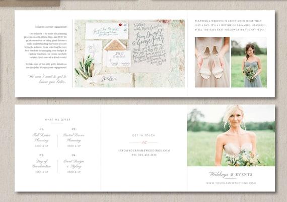 wedding planner marketing trifold template event coordinator etsy
