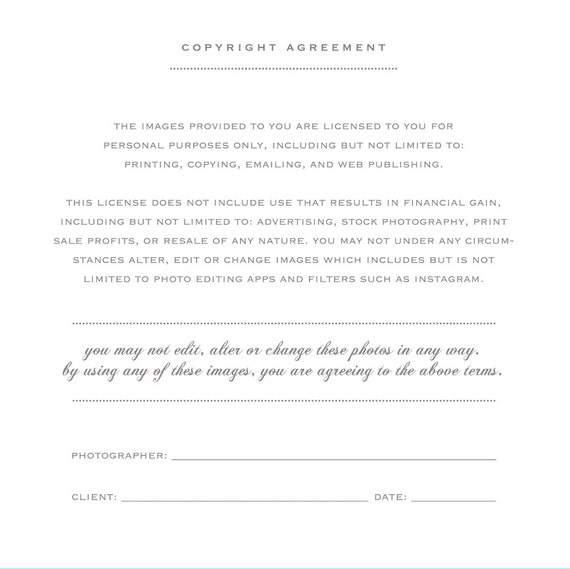 Wedding Photographer Licensing Forms Print Release Template Photo Marketing Copyright Agreement For Photographers