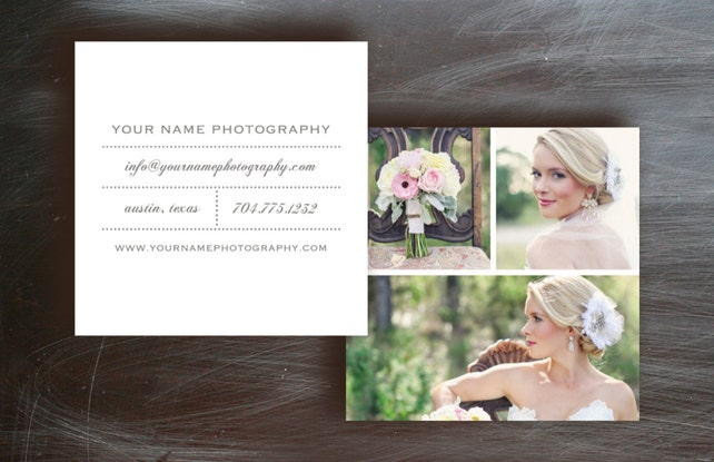 Business Card Template - Business Cards - Square Business Cards Template for Moo - Photo Marketing Business Card DesignDesign By Bittersweet