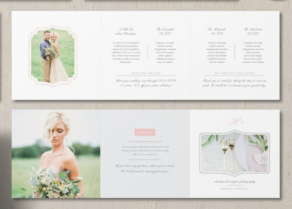 Photography Pricing Guide Trifold Template Wedding