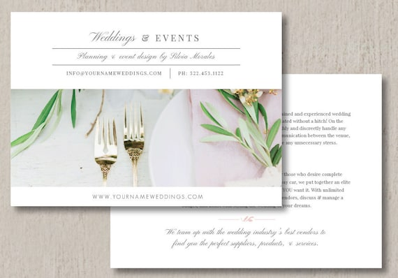 wedding planner marketing flyer template event coordinator etsy