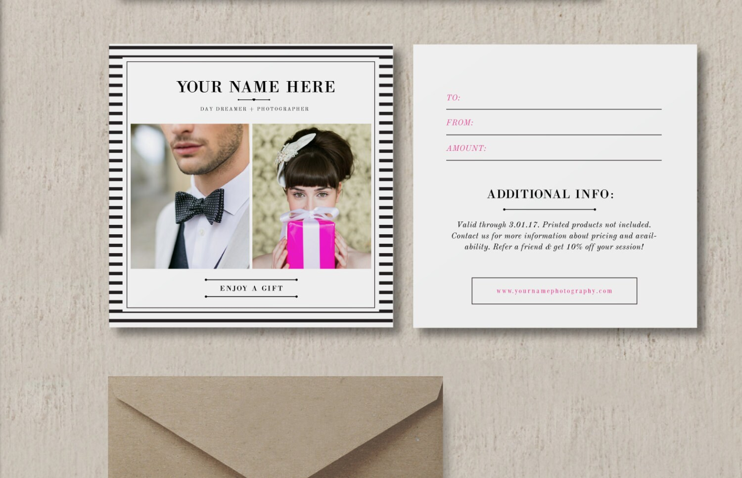 Photography Gift Certificate Template Gift Card Design For Etsy