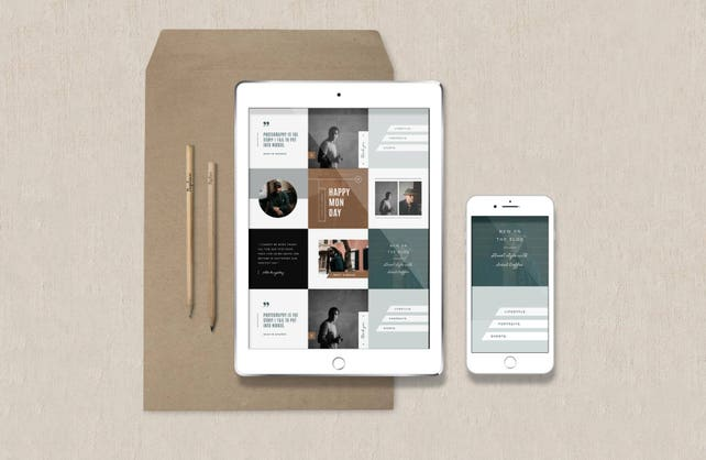 Photography Templates - Instagram Stories - Pinterest Templates - Facebook Timeline Cover - Social Media Graphics