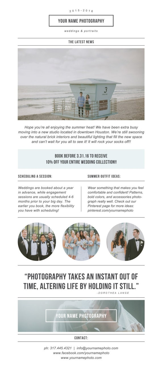 photography newsletter template for email pinterest etsy