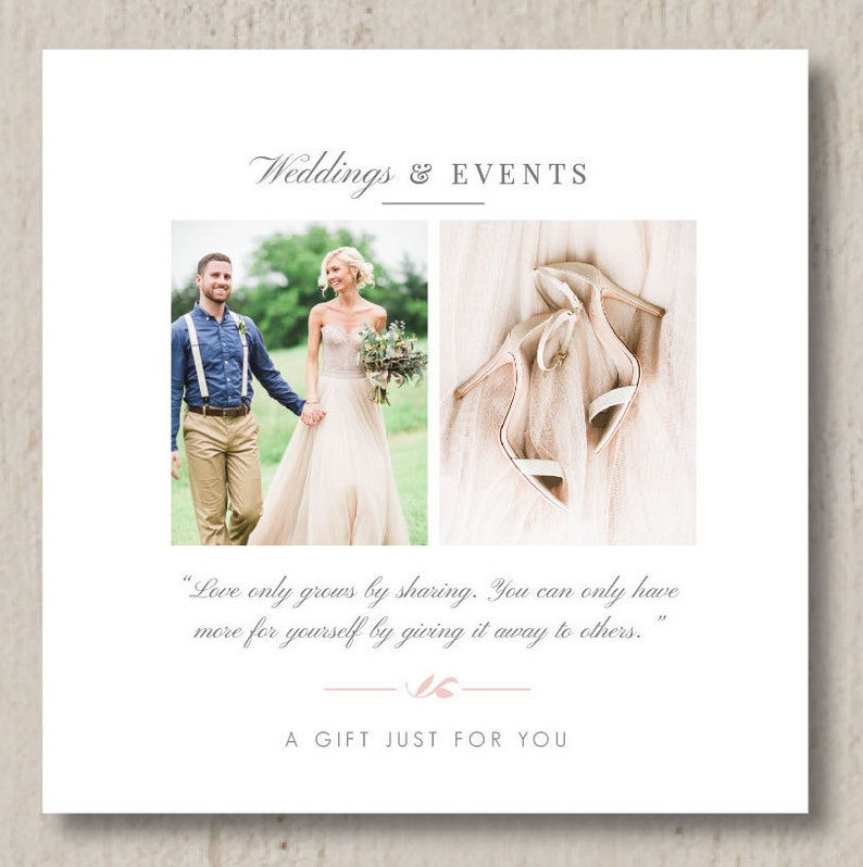 Photography Templates - Wedding Planner Printable Gift Card Template -  Event Coordinator Templates - Photo Marketing Templates