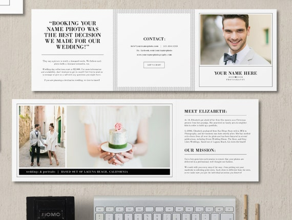 Wedding & Portrait Photographers Trifold Template- About Me Welcome Guide - Intro card - Photographer Templates