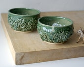 Set of two stoneware cabbage bowls - stoneware bowl in forest green