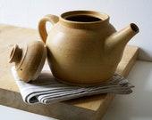Handmade stoneware teapot - glazed in natural brown