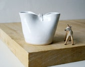 Folded stoneware pouring jug for milk - glazed in brilliant white