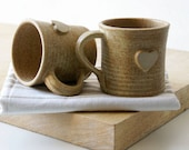Set of two heart mugs glazed in natural brown - hand thrown stoneware pottery