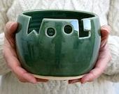 DISPATCHING ASAP - Wool ceramic yarn bowl glazed in forest green