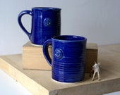 Set of two tall anchor mugs glazed in ocean blue - hand thrown stoneware pottery