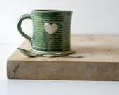 SECONDS SALE - Set of two heart mugs glazed in forest green