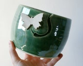 DISPATCHING ASAP - Butterfly pottery yarn bowl glazed in forest green