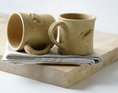 Set of two wren mugs glazed in natural brown - hand thrown stoneware pottery