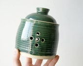 Wheel thrown stoneware pottery garlic jar - glazed in forest green