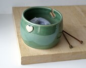 DISPATCHING ASAP - Love heart yarn bowl hand thrown stoneware knitting bowl in forest green