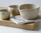 Set of three stacking snack bowls - glazed in simply clay